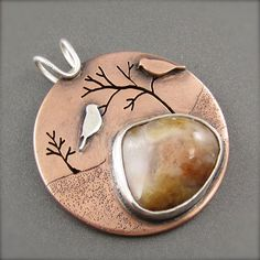 Two Lovebirds in the Tree Top Copper Pendant by BethMillnerJewelry, $345.00