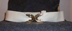 Karen Scott Vintage Ivory Leather and Gold Hardware adjustable belt circa 1980's by CurvyGirlCrafting78 on Etsy