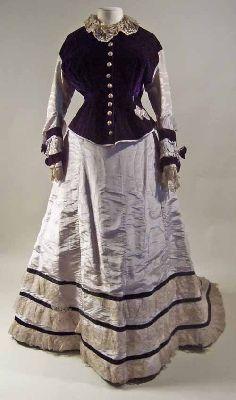Two piece dress, grey watered silk and purple velvet dress 1874-76 Manchester Galleries