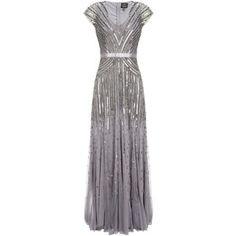 Adrianna Papell Cap Sleeve Long Sequin Dress, Silver/Grey
