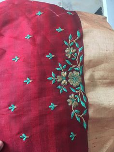 Sudhasri hemaswardrobe Embroidery Suits Punjabi, Embroidery Suits Design, Flower Embroidery Designs, Hand Embroidery Stitches, Free Machine Embroidery Designs, Embroidery Fashion, Crewel Embroidery, Floral Embroidery, Embroidery Patterns