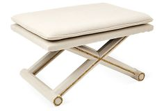 Layla Ottoman, Cream on OneKingsLane.com - would also go with gold and mirrored writing desk (to use as vanity)