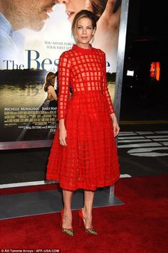 Red hot! Michelle Monaghan wowed on the red carpet at the Los Angeles premiere of her latest movie The Best Of Me
