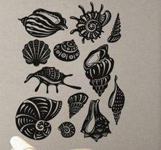Group of Seashells - Wall Decal Vinyl Decor Art Modern Removable Sticker Mural uBer Decals A496