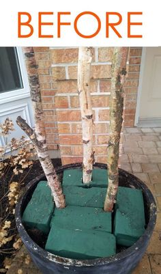 3 sticks in a pot? How GORGEOUS and creative this is! Definitely doing it! #porch #patio #patiodesign #holiday #backyard  #curbappeal  #diy  #gardens  #gardening #decorations  #urbangardening #winter  #containergardening #plants  #farmhouse #christmas #christmasdecor #christmascrafts #christmasideas outdoor christmas decorations,  #holiday  farmhouse decor, patio, porch