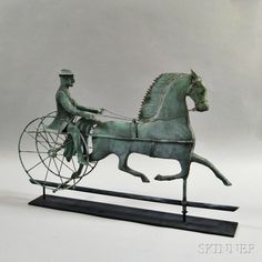 Molded Copper Horse and Sulky Weathervane | Sale Number 2832M, Lot Number 54 | Skinner Auctioneers
