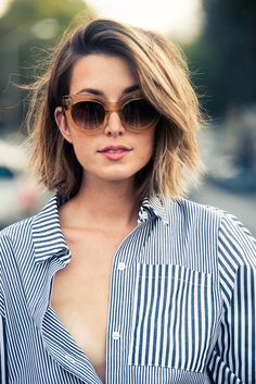 Say goodbye to your long locks + embrace shorter strands by rocking this omg-it's-so-cute bob.