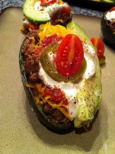 Avocado Taco Boats         From Peace, Love, and Low Carb  Me thinks this will be the meal I bring to Libby kite after Alana is born...