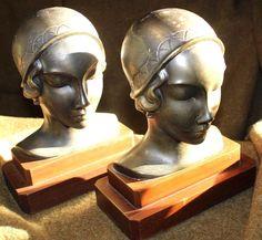 NICE PAIR OF ART DECO LADIES HEAD BRONZE SPELTER BOOKENDS FRANKART? UNSIGNED