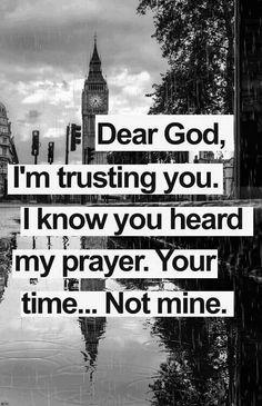 Dear God, I'm trusting you. I know you heard my prayer. Your time. .. not mine.