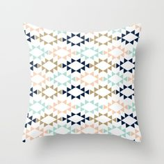 Aztec - Geometric tribal pattern in navy, gold glitter, pink, and blush Throw Pillow