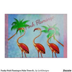 Funky Pink Flamingos Palm Trees Blue Sky Cutting Board