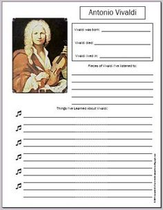 Free Vivaldi notebooking page. I love these worksheets. They make my job easier. =)