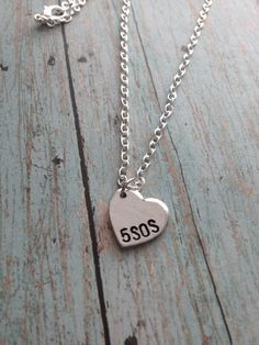 5 Seconds of Summer 5SOS Heart Hand Stamped by BandsAndMetal