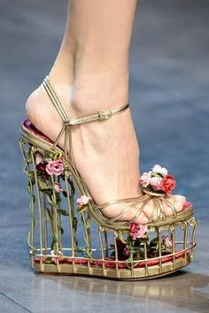 View this item and discover similar for sale at - Very rare Dolce & Gabbana cage shoes as seen on runway. This is a piece of art! It has Velvet insole. Dolce And Gabbana Shoes, Dolce E Gabbana, Shoes Heels Wedges, Wedge Sandals, Wedge Shoes, Ankle Strap Heels, Ankle Straps, Caged Shoes, Embellished Heels
