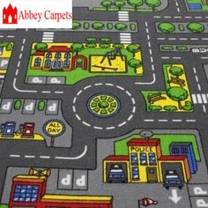 kids play mats for cars | about Children's Road Rug Play Mat Toy Car Roadway Large Matchbox Kids ...