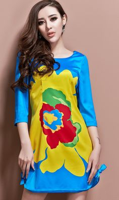 Large flowers dress blue
