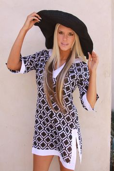 Yacht club black and white cover up tunic
