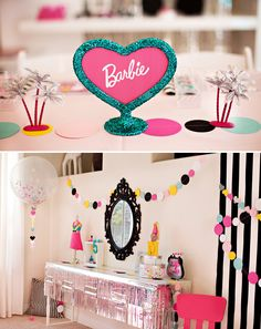 Barbie Party Kids Table Centerpiece + Styled Beauty Bar #TRUBestBirthday