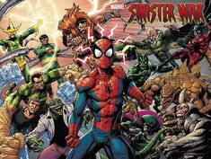 Sinister War #1 | Wraparound variant cover by Mark Bagley, John Dell & Brian Reber Spider Man 2018, The Sinister Six, Miss Hulk, Kraven The Hunter, Mark Bagley, Greatest Villains, Amazing Spiderman, Fun Comics, Comic Character