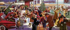 Plan59 :: Retro Vintage 1950s Christmas Ads and Holiday Art :: Christmas Shoppers