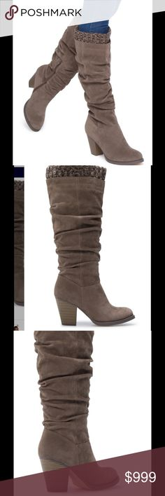 "Coming soon! Kaitlin Boot in Taupe Beautiful sweater detail give this Boot a little something extra. Faux suede and fabric. Outside heel height- 3"". Shaft height- 14"". Calf circumference- 14"". True to size. Functional inner zip. Shoes Heeled Boots"