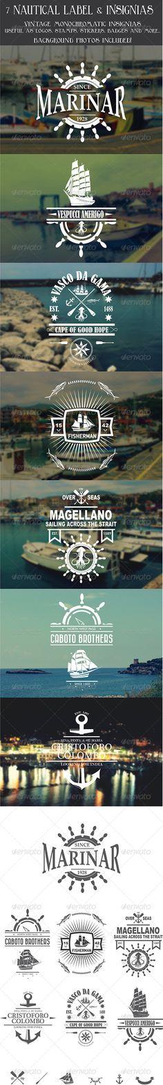 7 Vintage Nautical Insignias Logo Template | Buy and Download: http://graphicriver.net/item/7-vintage-nautical-insignias-logo/8070866?WT.ac=category_thumb&WT.z_author=Duke_Ellington&ref=ksioks