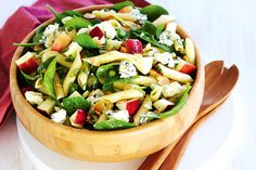 Pasta gets a new twist with blue cheese, apple and spinach in this stunning summer side salad.