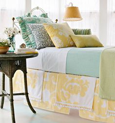 Create a one-of-a-kind bedskirt with table cloths and table runners draped over your boxsprings. Love this - maybe in reds to pop with my white coverlet Bedroom Colors, Bedroom Decor, Bedroom Ideas, Bedroom Inspiration, Bedroom Themes, White Bedroom, Dream Bedroom, Master Bedroom, Bedroom Romantic