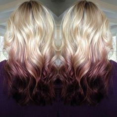 Image result for blonde to maroon ombre