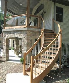 Weatherproof Cedar Staircase and Exterior Glass Deck Railing stairs Staircase Outdoor, Deck Stair Railing, Patio Stairs, Concrete Stairs, Exterior Stairs, Curved Staircase, Staircase Design, Glass Deck Railing, Stone Stairs