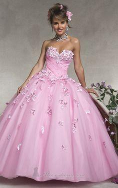 Vestido rosado de quinceañera