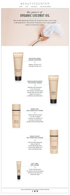 The POWER of Organic Coconut oil in Beautycounter's Essentials Collection. www.beautycounter.com/jeniskra