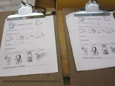 I LOVE these patient charts for the vet at dramatic play!