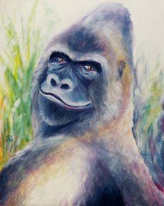 Painting «Gorilla» by Nadine Lière, Acrylic on canvas board, 40 x 50 cm, 2016, grenadine-art.eu