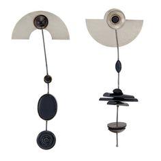 Metal and Black Enamel Pendant-Earrings, Wendy Ramshaw