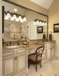 """Custom Bathroom Vanities Dallas Tx sink, makeup vanity same height"""" """"love the drawers and counter"""