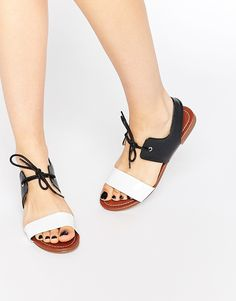 29248b07fcab Image 1 of London Rebel Tie Flat Sandals Asos