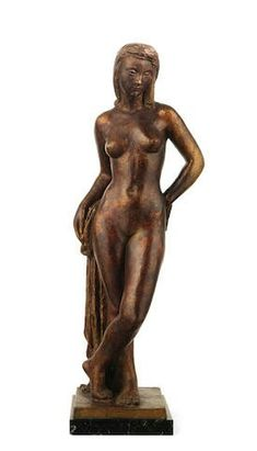 Anton Casamor (Spanish, 1907-1979) A bronze female nude, leaning on a tree stump draped in her robe, on a marble plinth, signed to the base, 75cm high (29 1/2in high).