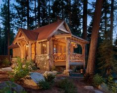 Corrugated metal roofing rustic exterior lodge cabin patio deck ideas