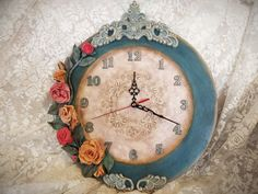 DIY: Ρολόι με 3d χειροποίητα λουλούδια! ArteDiDeco [CC] 3d Wall Clock, Handmade Flowers, Home Decor, Decoration Home, Room Decor, Home Interior Design, Home Decoration, Interior Design