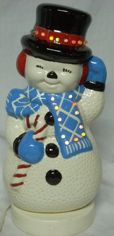 Vintage Ceramic Lighted Snowman 14 1 2 By Diantiques On Etsy