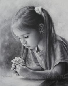 Pencil Portrait Mastery - Drawing little girl with a flower by dry brush 2015- Igor Kazarin - Discover The Secrets Of Drawing Realistic Pencil Portraits