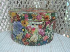 8 x 4 Round Decoupage Box Flower & Butterfly Garden Paper by 2lewa