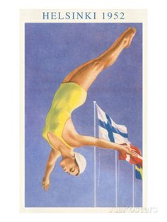 Olympic Diving, Helsinki, Finland, 1952 Sports Art Print - 46 x 61 cm Women's Diving, Diving Board, High Diving, Diving Helmet, Cliff Diving, Deep Diving, Diving Suit, Cave Diving, Helsinki