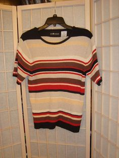 Sag Harbor Sz S Chico Striped Ribbed Knit Top Black Tan Red Brown #SagHarbor #KnitTop