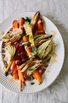 Roasted Carrots and Fennel with Tahini Dressing