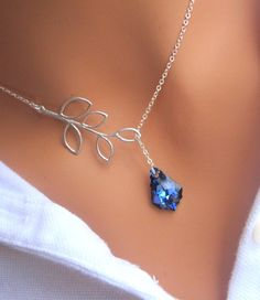 Branch and Bermuda Blue lariat necklace in Sterling Silver. Bridesmaids Gift. Bridal. Wedding.