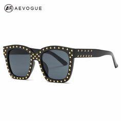 FuzWeb:AEVOGUE Sunglasses Women Steampunk er Rivets Decoration Acetate Frame Mirror lens With Box AE0488
