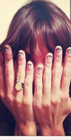 creepiest thing ive ever seent!!!!........Eye See A Nail-Art DIY via Alexa Chung